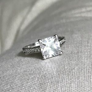 Jewelry - 3 Ct Princess CZ Rhodium Silver Engagement Ring